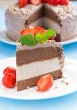 Часть шоколадного торта 3 слоев на плите, конца-вверх Стоковые Фотографии RF