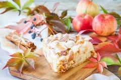 Часть яблочного пирога на деревянной предпосылке Стоковые Изображения