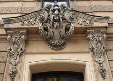Часть Blaumana фасада здания Nouveau искусства 11/13 улиц Рига Стоковые Фото