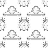 Часы будильника и каминной доски Черно-белая безшовная картина для книжка-раскрасок, страниц Стоковая Фотография RF