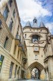 Часы двери Cloche Grosse на Бордо, Франции Стоковые Фото