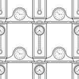 Часы высокие стоячие часа и каминной доски Черно-белая безшовная картина для книжка-раскрасок, страниц Стоковая Фотография