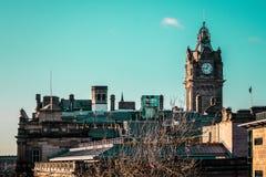 Часы в Эдинбурге, Шотландии, Великобритании стоковое фото rf