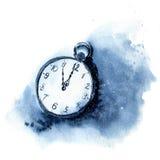 Часы года сбора винограда акварели Иллюстрация рождества при снег и карманный вахта изолированные на белой предпосылке 5 минут Стоковое Фото