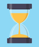 Часы, значок Sandglass в плоском стиле также вектор иллюстрации притяжки corel Стоковая Фотография RF