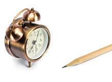 Часы и карандаш Стоковое фото RF