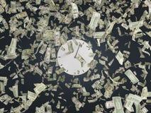 Часы и доллары Стоковое Изображение