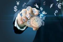 Часы и символы валюты показывают человека Стоковое Изображение