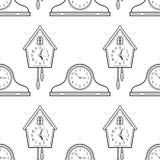 Часы и часы с кукушкой каминной доски Черно-белая безшовная картина для книжка-раскрасок Стоковая Фотография