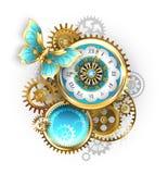Часы и шестерня с бабочкой стоковое фото rf