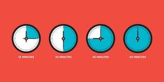 Часы Комплект времени в одной иллюстрации вектора дизайна часа плоской Стоковая Фотография