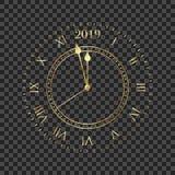 часы 2019 Круглые ретро часы с римскими номерами Не будет соединять минуты до Нового Года 2019 иллюстрация штока