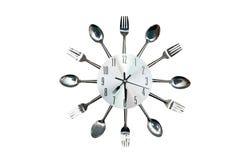 Часы кухни в первоначально стиле ложки и вилки Стоковые Фото