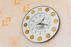 Часы кухни с изображением чашки кофе Стоковое фото RF
