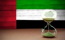 Часы на предпосылке ОАЭ сигнализируют, концепция времени и страны, космос для текста стоковые фото