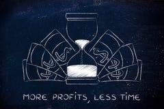 Часы окруженные банкнотами, больше приносят пользу в меньше времени Стоковое Фото