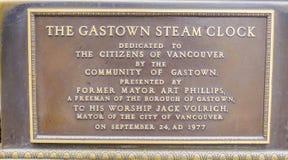 Часы пара Gastown подписывают внутри Ванкувер - ВАНКУВЕР - КАНАДУ - 12-ое апреля 2017 стоковое фото