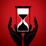 Часы песка с в рукой Стоковое Фото