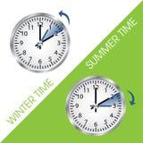 Часы показывая лето и зимнее время иллюстрация вектора
