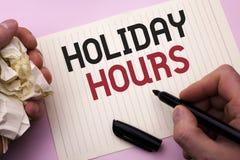 Часы праздника текста сочинительства слова Концепция дела для отверстия сезонных полуночных продаж времени торжества сверхурочног Стоковое Изображение RF