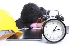 Часы пункта бизнесмена для заказа что-то Стоковые Изображения RF