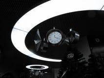 Часы рождества в светлом круге стоковая фотография