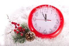 Часы рождества 12 часа Стоковая Фотография