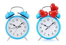 часы сигнала тревоги голубые изолировали Стоковая Фотография