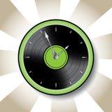 Часы стиля диска винила с зеленой границей Стоковые Изображения