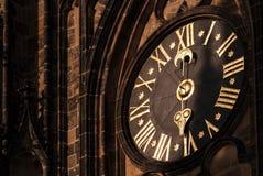 Часы столичного собора Святых Vitus, Wenceslaus и Adalbert в замке Праги Стоковое фото RF