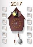 Часы с календарем 2017 Стоковые Фото