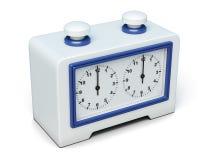 Часы шахмат на белой предпосылке 3d представляют цилиндры image Стоковое Фото
