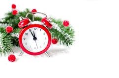 Часы ` s Новый Год приветствие рождества карточки Стоковое Фото