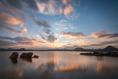 Час берега озера золотой на Gudibande, Karnataka Стоковые Фотографии RF