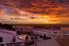 Час восхода солнца волшебный над морем Испании Стоковое фото RF