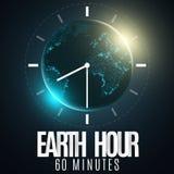 Час земли Футуристическая земля планеты 60 минут без электричества письма бумаги 3D Восход солнца Глобальный праздник Часы идут А бесплатная иллюстрация
