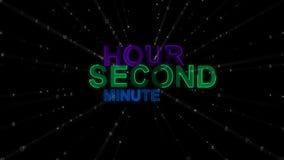 Час, минута, второе как слова концепции иллюстрация вектора