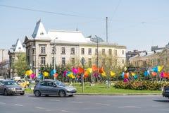 Час пик в центре города квадрата университета города Бухареста Стоковое фото RF