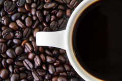 Чашка белизны Coffeebean Стоковая Фотография
