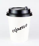 Чашка белой бумаги эспрессо с ярлыком Стоковое фото RF