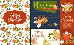 Чашка вектора изображений веселого рождества и счастливого Нового Года символическая с горячим видом ручек напитка и циннамона ар иллюстрация вектора