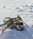 Чашка в снеге Стоковые Фото