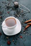 Чашка горячего грея черного чая и состав с stainer чая, стоковое фото rf