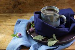 Чашка горячего испаряясь травяного чая против холода обернутого в голубом cl Стоковые Фотографии RF