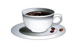 Чашка горячего кофе на поддоннике Кофейные зерна на плите Освежая приправленное питье молоко кофе Естественный заваренный кофе в  Стоковые Изображения RF
