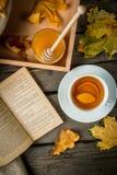 Чашка горячего чая с лимоном и имбирем на деревенской таблице Стоковое Изображение