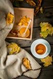 Чашка горячего чая с лимоном и имбирем на деревенской таблице Стоковое Фото