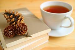 Чашка горячего чая с сухими конусами сосны на стоге книг Стоковое Фото