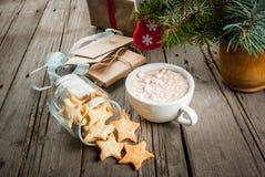 Чашка горячего шоколада и пряника в форме звезд Стоковые Фото