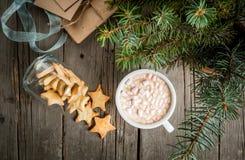 Чашка горячего шоколада, пряника и настоящих моментов Стоковая Фотография RF